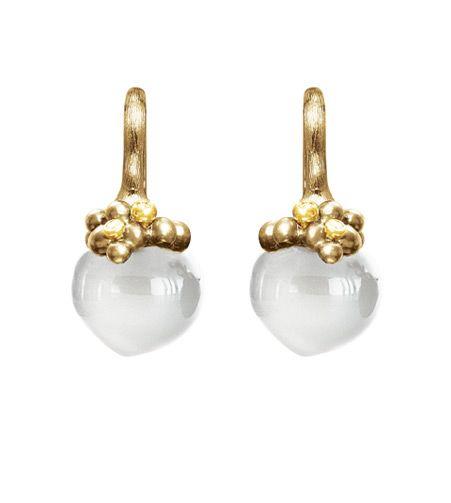 Ole Lynggaard Copenhagen Dew Drop Earrings (large) White Moonstone cabochon drops with diamonds in 18ct yellow gold - Kennedy Jewellers