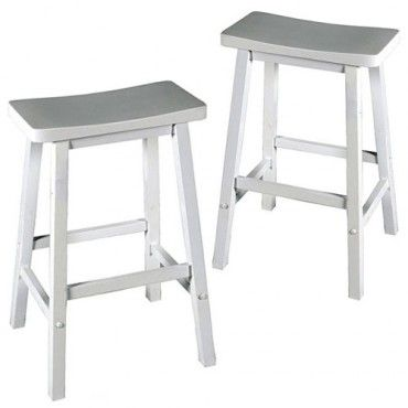 Set of 2 - Zen Bar Stool - White