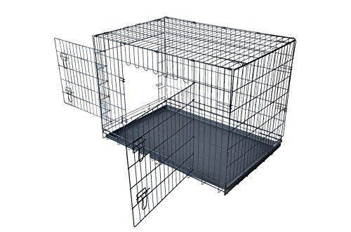"""PayLessHere 42"""" XXL Dog Crate Double-doors Folding Metal Dog Cage w/ Free Tray - http://www.thepuppy.org/paylesshere-42-xxl-dog-crate-double-doors-folding-metal-dog-cage-w-free-tray/"""