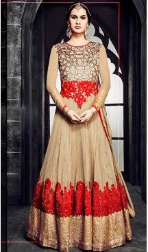 Tan Brown Color Georgette Long Anarkali Salwar Stitched Suits with Dupatatta…