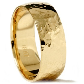 Solid 18K Yellow Gold Polished Hammered 7MM High Quality Mens Wedding Ring Band on eBay!
