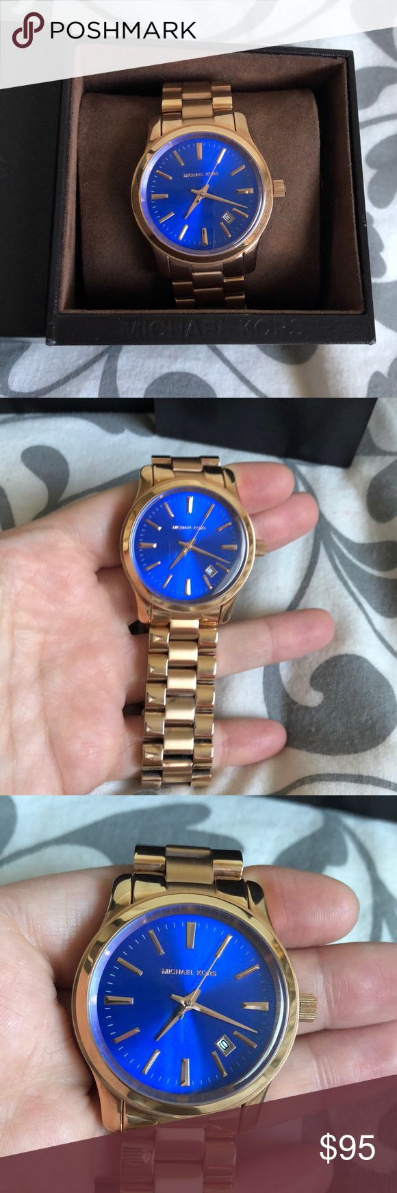 Authentic Michael Kors Women's Watch Authentic Michael Kors Women's Rose Gold and Blue Watch. 100% authentic. Never worn myself, but was bought off of here. In good condition. Comes with the box and tags. No scratches on the face, but some light marks in between the chain link bands, slight discoloration from being stored in the box for a long time. The pillow the watch sits on: the edges of the pillow have fallen off. Box is a little banged up but not bad. Let me know if you have any…