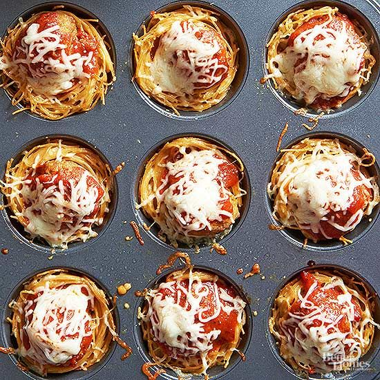 Why, yes, those are nests of tender spaghetti noodles cradling toppers of pasta sauce, melty cheese, and turkey meatballs. And they're just as delicious as they are cute./