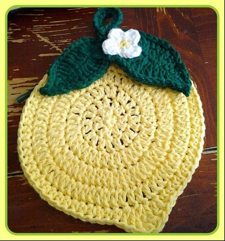 Cute Lemon Crocheted Trivet/Potholder
