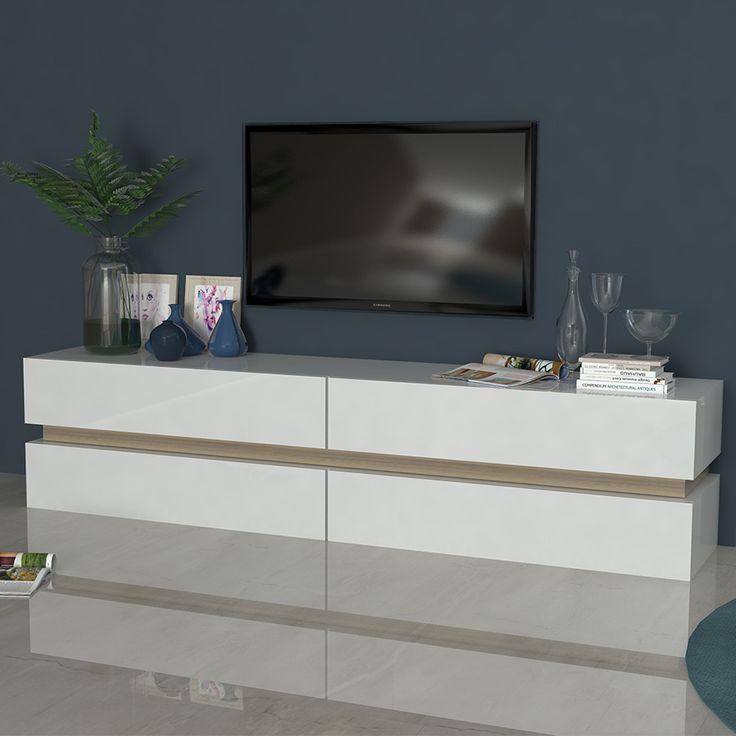 meuble tv blanc laqu brillant et couleur bois pergame - Meuble Bois Et Blanc Laque