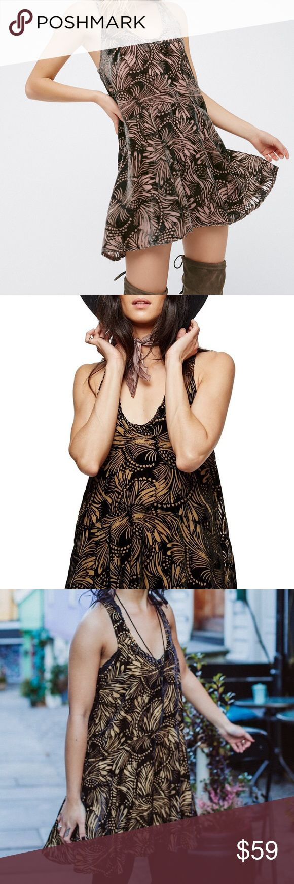 Free People Ellie Burnout Mini Dress XS Velvet Gorgeous black velvet and tan burnout mini dress from Free People, size XS. Oversized, lined over the bust and through the skirt. Black studding at the neckline. Excellent condition! Free People Dresses Mini