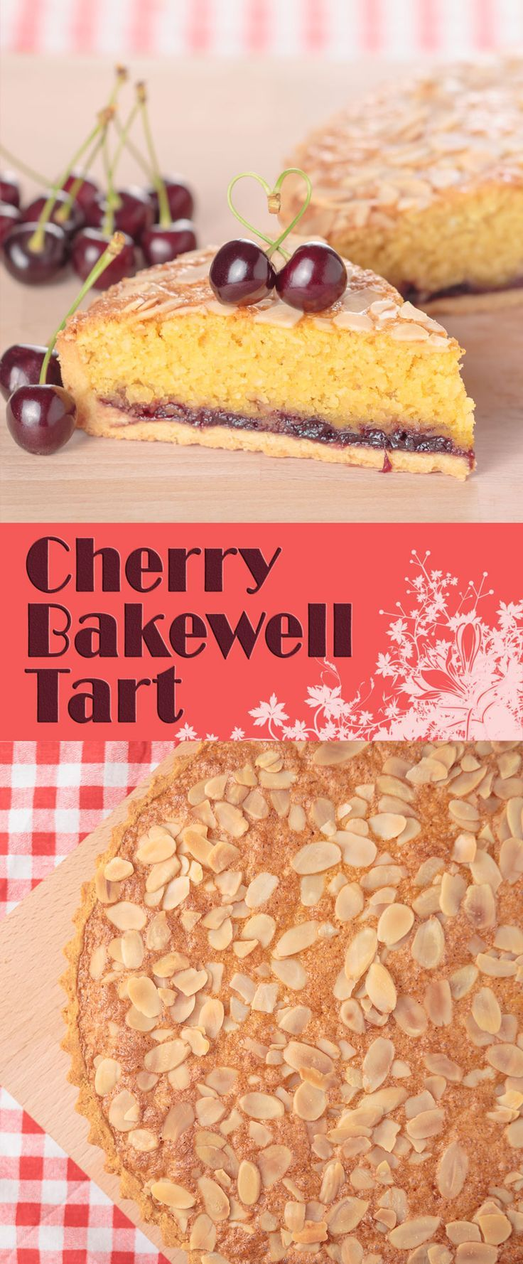 Cherry Bakewell Tart or Frangipane Tart - An extremely short sweet pastry case loaded with cherry jam and an almond laden frangipane filling baked to perfection. | Cooked by Krumpli