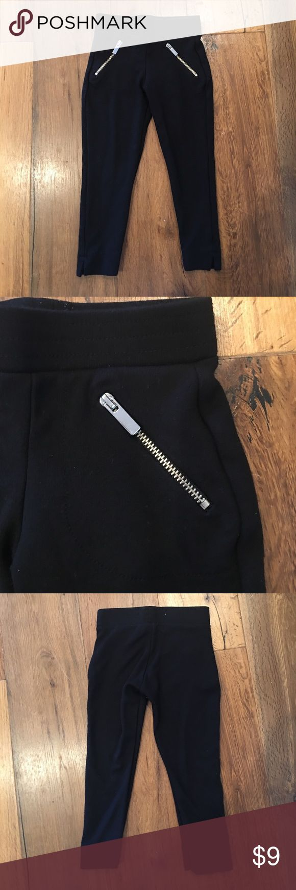 Zara Silver Zipper Leggings Thick black legging from Zara. Cute silver zipper detailing. Good used condition. Slight piling that is standard after one wash.  Runs on the small side. Zara Bottoms Leggings