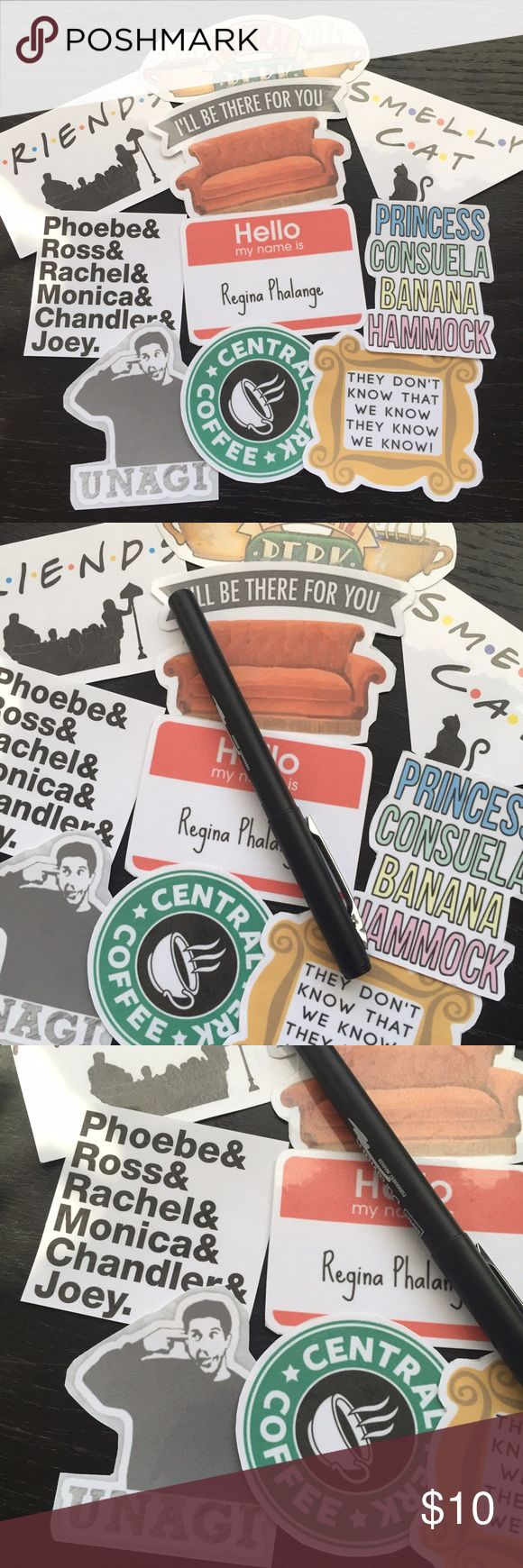 Friends handmade sticker pack 10 piece bundle Friends 90s tv show tumblr sticker collection! Handmade from the heart, laminated for a bit of extra protection. Not waterproof- perfect for personalizing your books, laptop, accessories, whatever!  Tags: phoebe, smelly cat, Ross, Rachel, chandler, Joey, Monica, central perk, nbc, sitcom Accessories
