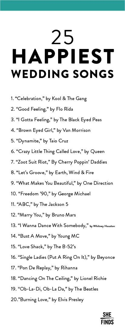 The 20 Happiest Songs To Play At Your Wedding                                                                                                                                                      More