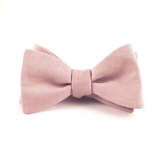 "Dusty Rose Bow Tie, Men's Pale Pink Linen Bowtie - Pale ""Dusty Rose"" Self Tie Bowtie with Adjustable Hardware"