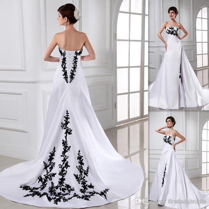 2017 Black And White Wedding Dresses Strapless Taffeta Appliques Lace Back Lace Up A-line Bridal Gowns New Arrivals