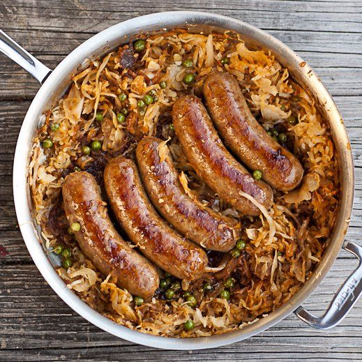 """<p>Sausage and kraut, now this is Oktoberfest! <a href=""""http://chaosinthekitchen.com/2013/04/beer-braised-bratwurst-and-caramelized-sauerkraut/"""" target=""""_blank"""">See the recipe</a>.</p>"""
