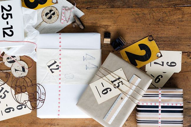 Numbers  Striped wrapping paper, string from Paper2; ruler, from Pulp Creative Paper: Gift Wrapping, Flash Cards, Gifts, Wrapping Ideas, Christmas Gift, Wraps, Wrapping Gift