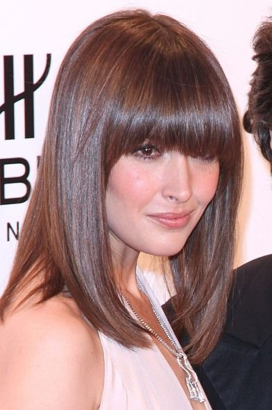 rose byrne medium length hair + heavy fringe