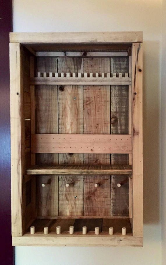 Rustic Jewelry Cabinet Pallet Jewerly Box Wall Jewerly Etsy In 2020 Jewelry Cabinet Wooden Jewerly Box Armoire Diy