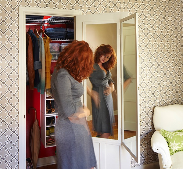 Make a hinged mirror and hang it on a closet door. Attach a hook to keep it closed when not in use. Hang hooks, etc. on the back for belts, scarves, or other items.