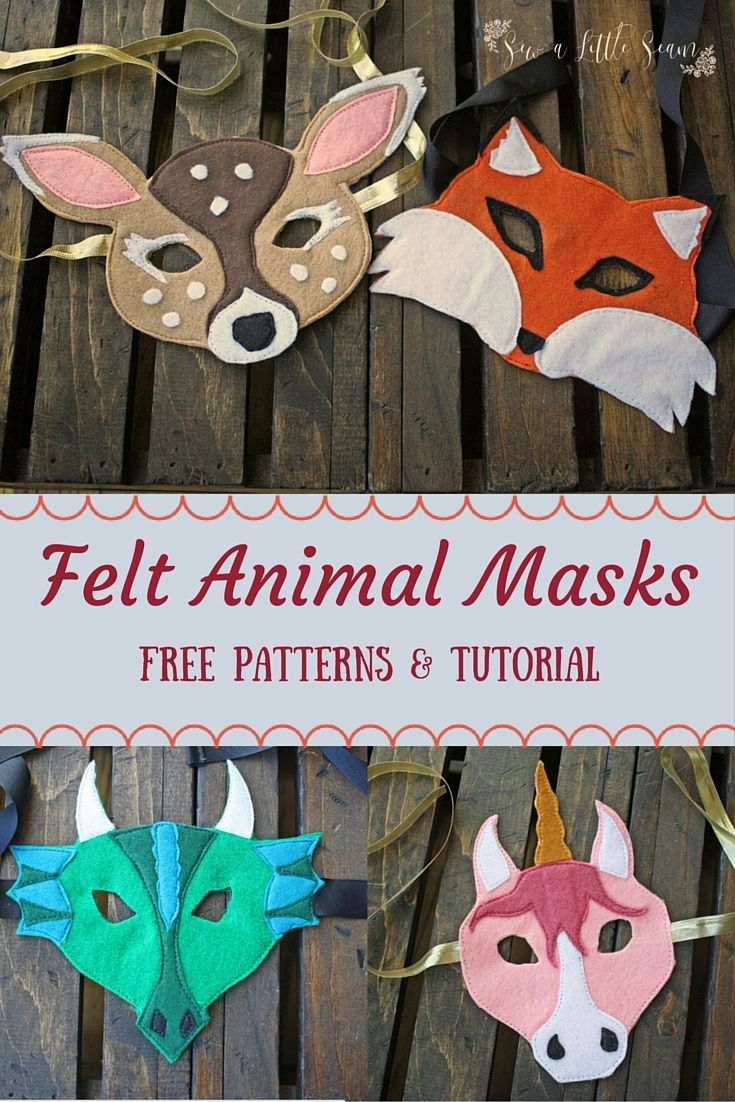 super easy tutorial for making felt animal masks. // Tutorial e imprimibles para hacer máscaras de animales