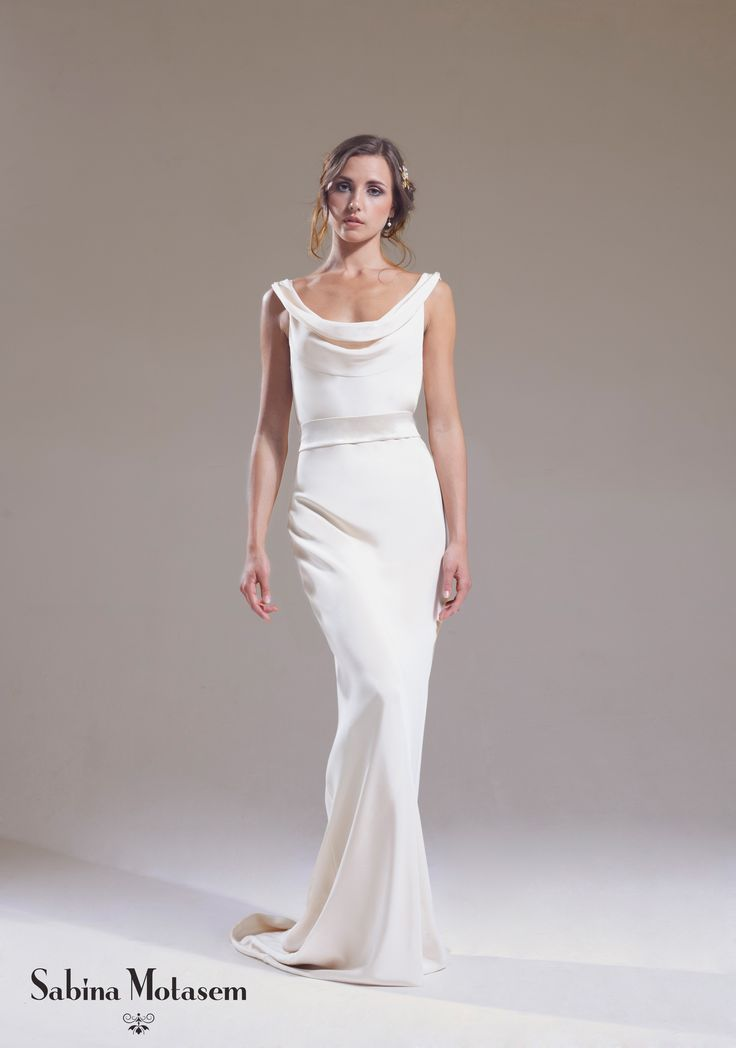 The Josephine dress – Sabina Motasem. A cowl neck, backless, slinky wedding dress and a puddle train. www.motasem.co.uk #biascutweddingdress #cowlneckweddingdress #sabinamotasem