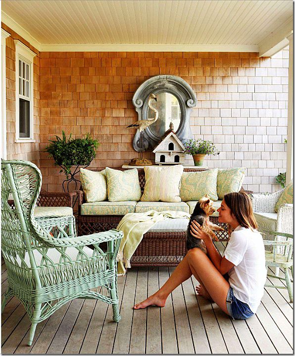Fun, unexpected wicker color, design by Ginger Barber