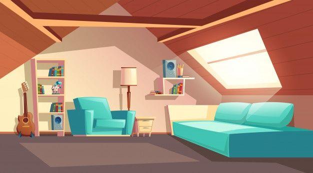 Download Cartoon Background With Empty Garret Room Modern Loft