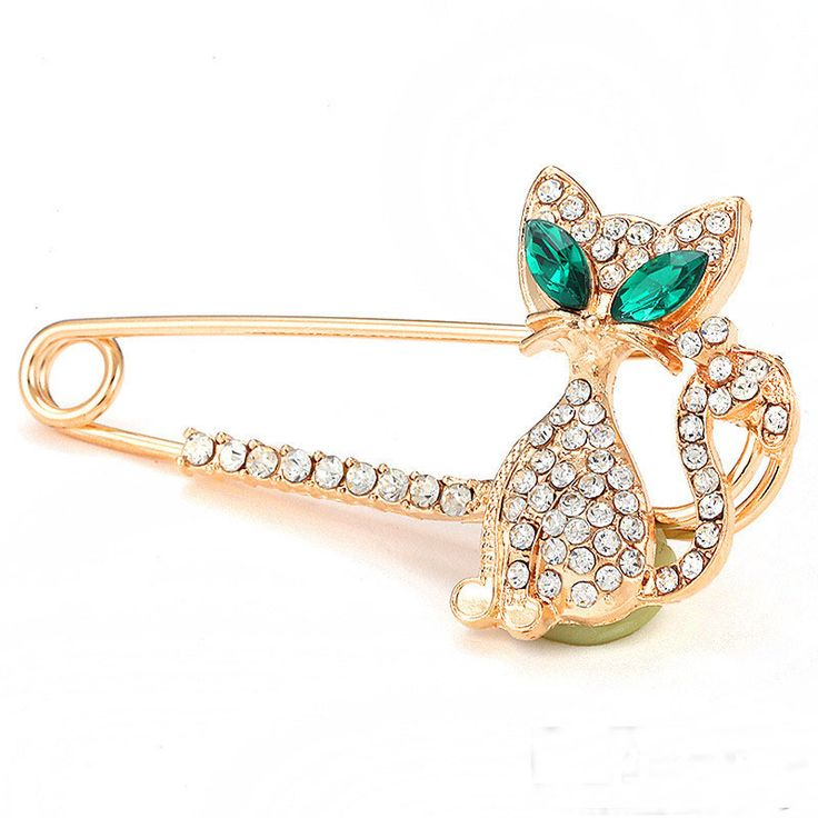 Fashion Women Gold Silver Plated Rhinestone Crystal Green-eyes Cat Brooch lapel Pin Christmas Gift broches para as mulheres