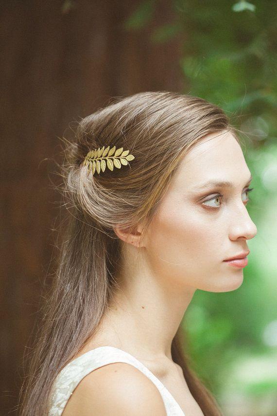 Gold Leaf Bobby Pin Laurel Hair Clip Bride Bridal Bridesmaid