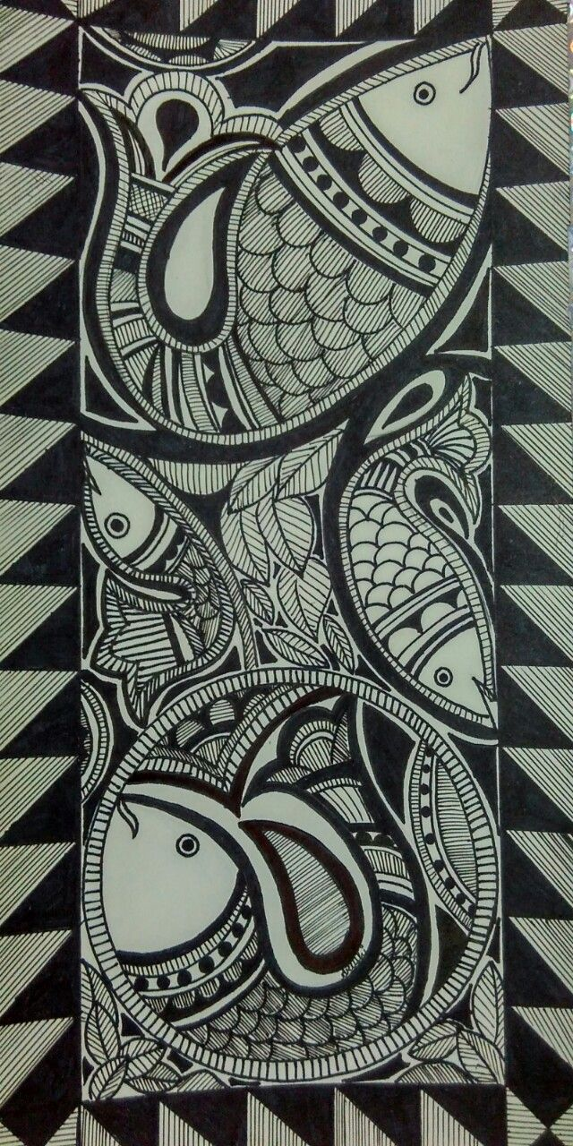 Felix murillo lleno de colores painting acrylic artwork fish art - Madhubani Painting Fishes With Pen