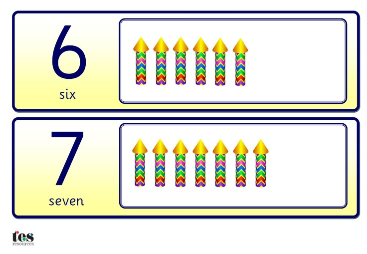 A set of basic number cards (0-10) with additional firework rockets for counting. All cards are in a yellow colour scheme with Sassoon numbers throughout.