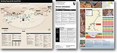 Thumbnails of 3 new publications: South Rim Guide Map and Services pocket map. Winter Ranger Program/Shuttle Bus schedule card, and new Backcountry Hiking brochure