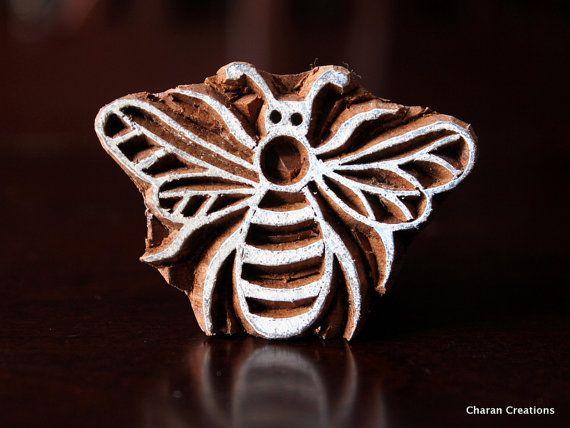 Wooden block, Tjaps, carved wood stamp, Indian wood stamp, ceramic stamp, soap stamp – bee reduced   – Crystals News