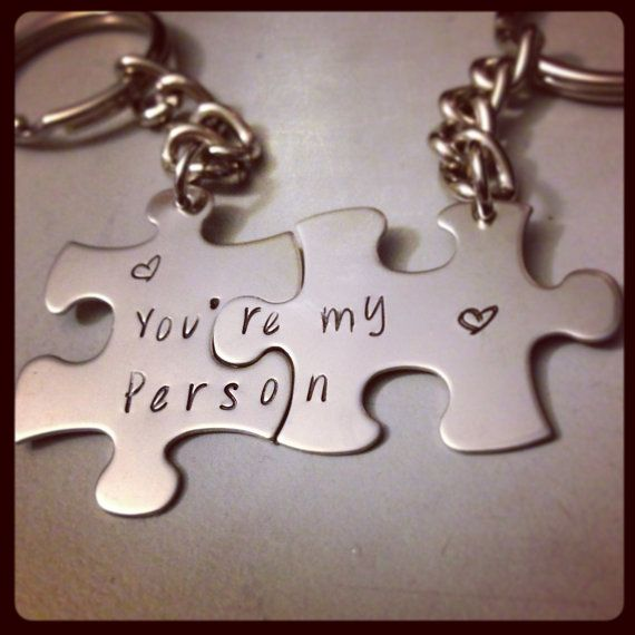 Personalized Keychain Set Hand Stamped Jewelry - Grey's Anatomy Inspired You're my Person Puzzle piece keychain set on Etsy, $22.00