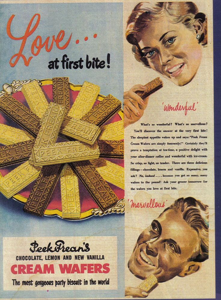 The brand is owned in the UK by United Biscuits, although the PEEK FREAN name is no longer used in the UK. In the US and Canada the brand is owned by Mondelēz International, while in Pakistan, the brand is owned by English Biscuit Manufacturers. ad from 1950s or 60s