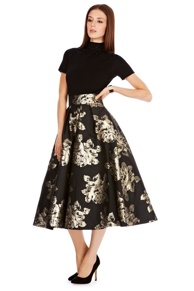 midi skirt crafted from exclusively made Duchess Satin!   the Rita skirt features subtle pleats at the waist   tulle underlay skirt   vintage appeal   rose gold floral embroidery