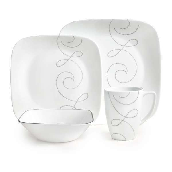Corelle Square Endless Thread 16-piece Dinnerware Set ($73) ❤ liked on Polyvore featuring home, kitchen & dining, dinnerware, white, square dinnerware, white square dinner plates, square dinnerware set, white square dinnerware set and corelle