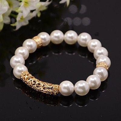 PandaHall Jewelry—Natural Shell Pearl Elastic Bracelets with Hollow Brass Tube Beads | PandaHall Beads Jewelry Blog