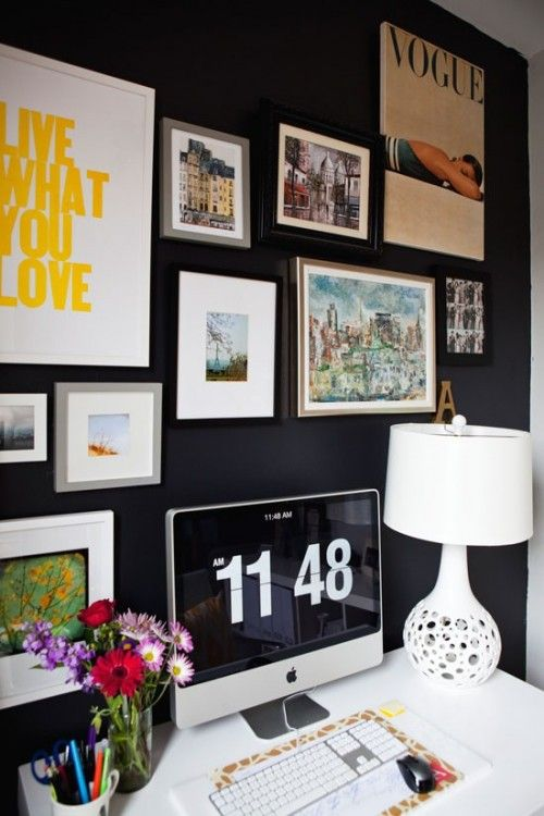 Can I have this office? Please?Office Spaces, Black Walls, Offices Design, Offices Spaces, Gallery Walls, Dark Walls, Blackwall, Home Offices, Offices Wall