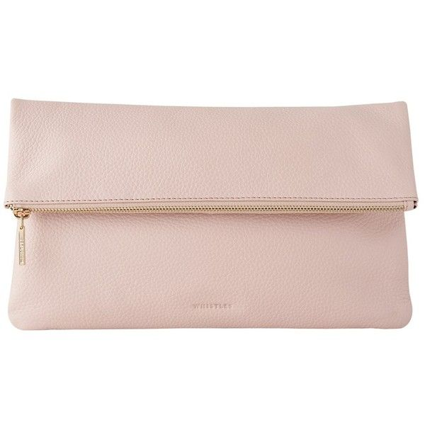 Whistles Foldover Zip Clutch Bag, Pale Pink found on Polyvore featuring bags, handbags, clutches, pink handbags, pale pink purse, special occasion clutches, genuine leather handbags and leather clutches