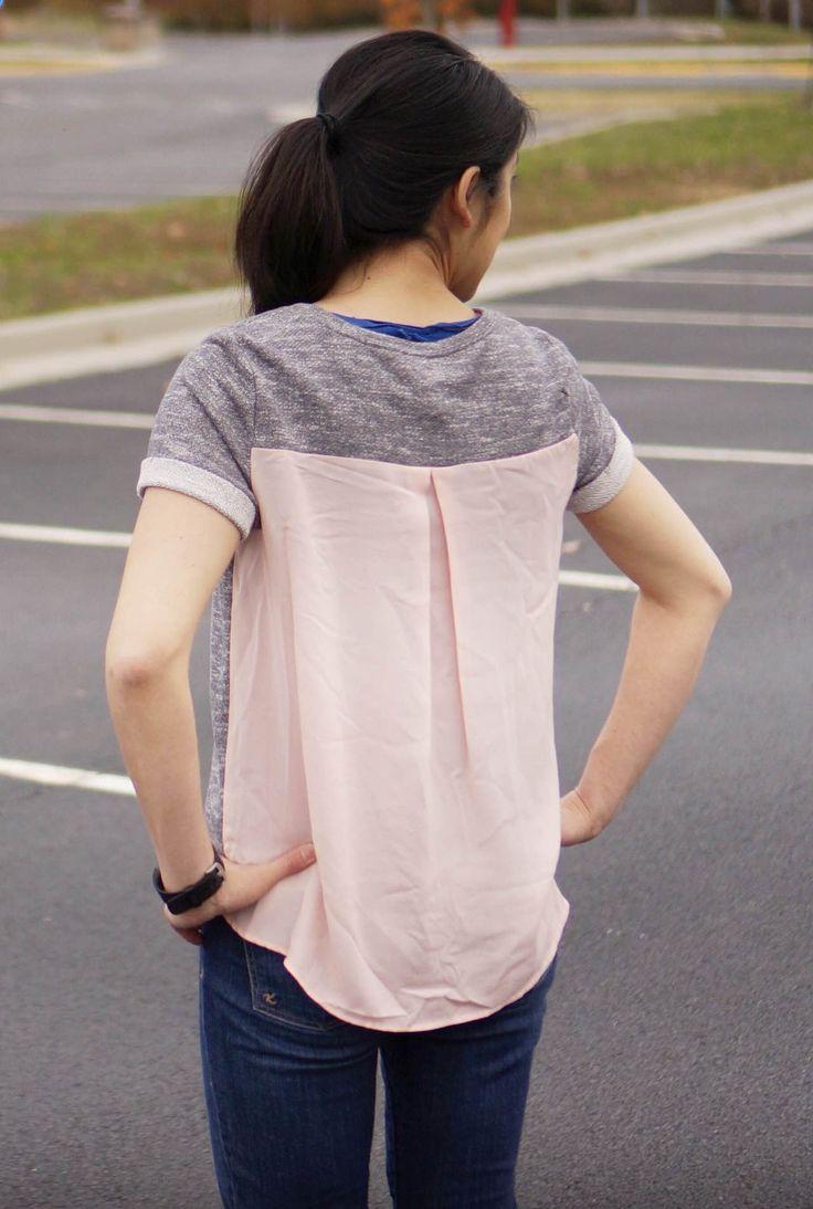 MARKET & SPRUCE Xander Short Sleeve Woven Back Sweatshirt