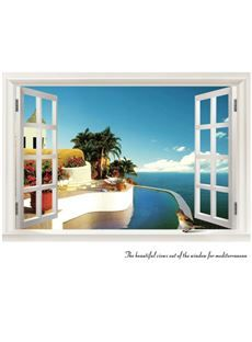 Mediterranean Sea and Tree Outside the Window Wall Stickers