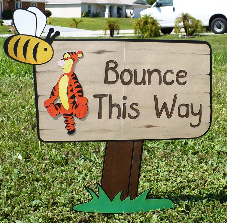 *TIGGER ~ Custom Wording Pooh Birthday Stand Up Party Signs.