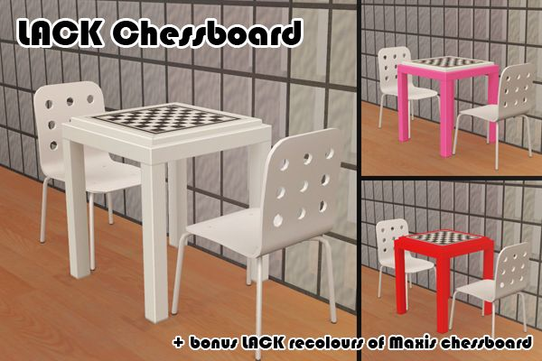 Just a small mini-gift to celebrate the fact that I can still create objects! I've been in need of a modern, simple chessboard for my game for ages. I was looking at the Lack endtable and thought how great it would be as a chessboard - and ta dah!...