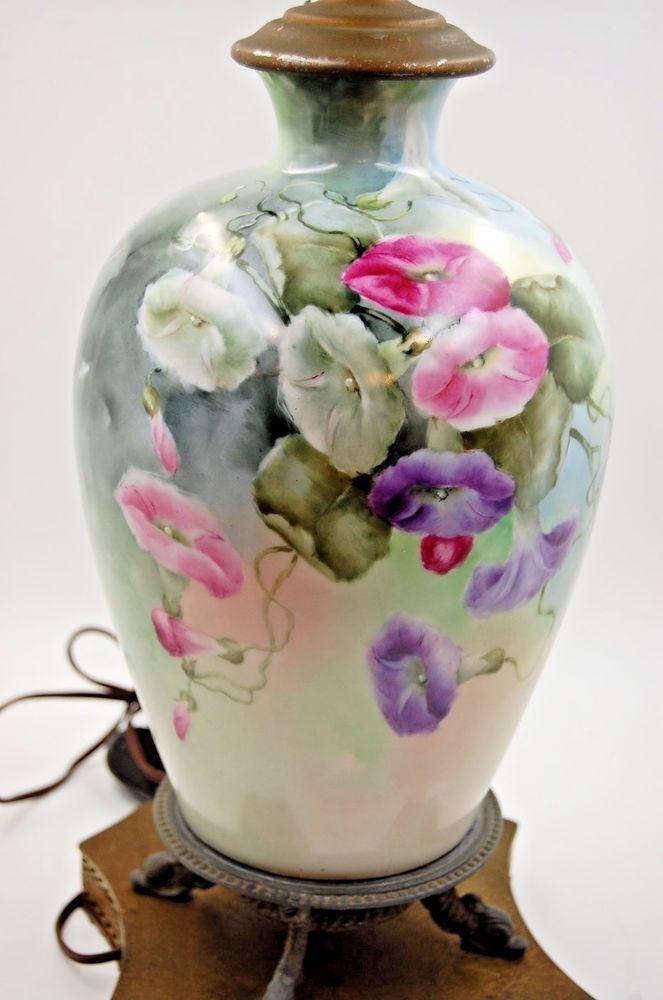 Limoges Antique  France Hand Painted Porcelain Lamp  ~Gorgeous~ Flowers | eBay