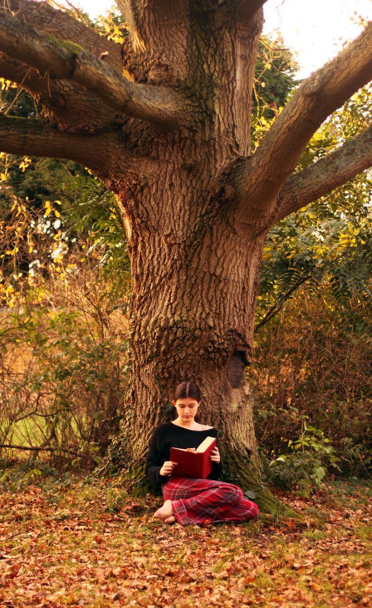 Una ragazza legge ai piedi di un grande albero, accoccolata sulle foglie d'autunno