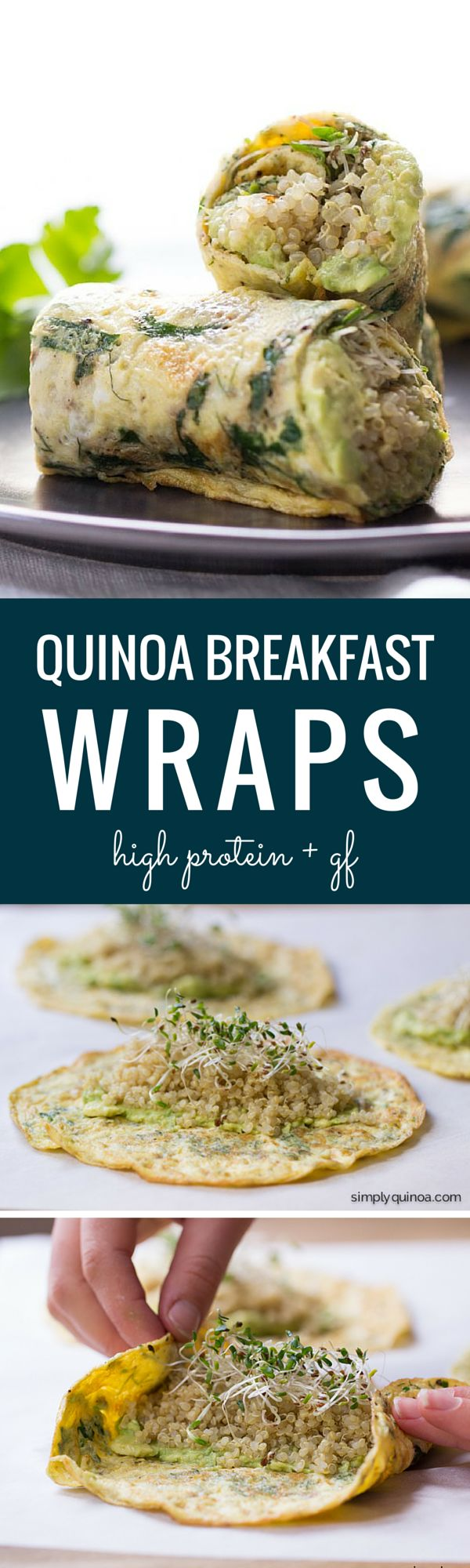 Herbed Quinoa Breakfast Wraps - these are a quick, easy and totally portable breakfast. Packed with protein + super delicious!