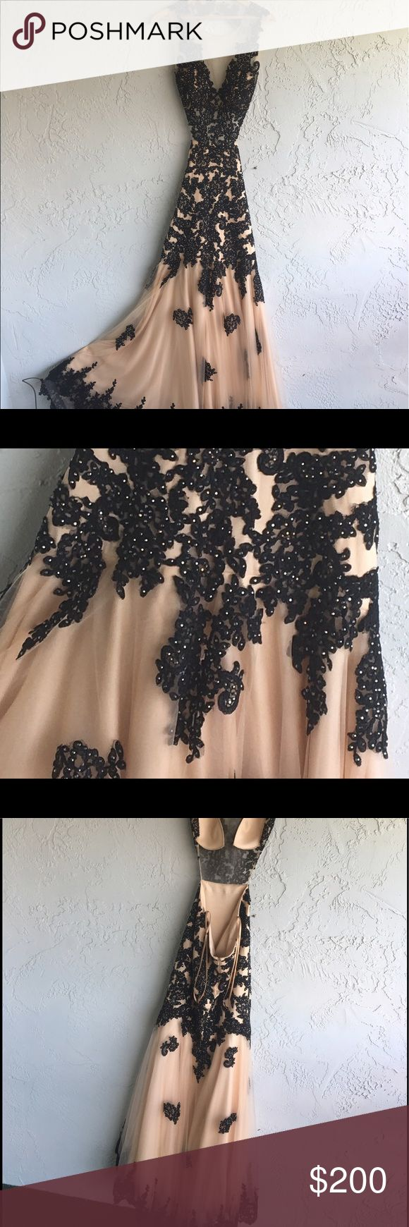 Black and cream formal dress This lovely dress is a size: 9/10 can be worn to a gala or prom or any formal event. Black lace and black jewels on a cream coat with open back and small train. camille la vie Dresses Prom