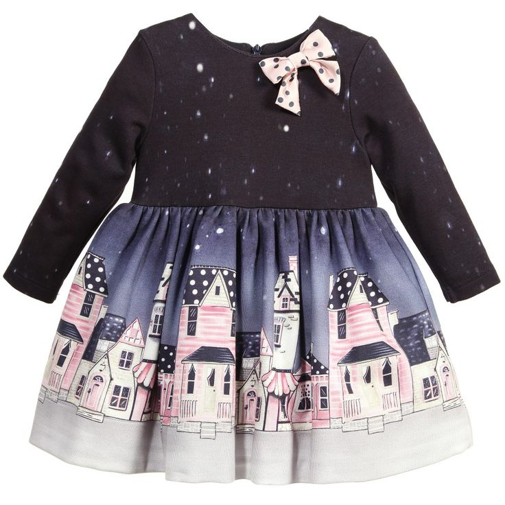 Monnalisa Baby Girls Navy Blue Street Print Dress at Childrensalon.com