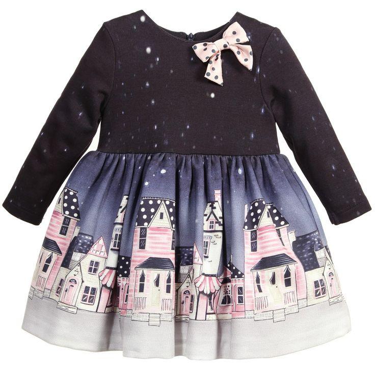 Baby Girls Navy Blue Street Print Dress, Monnalisa, Girl