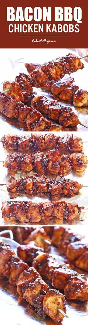 For some quick and easy weeknight grilling action, Bacon BBQ Chicken Kabobs hit the spot.
