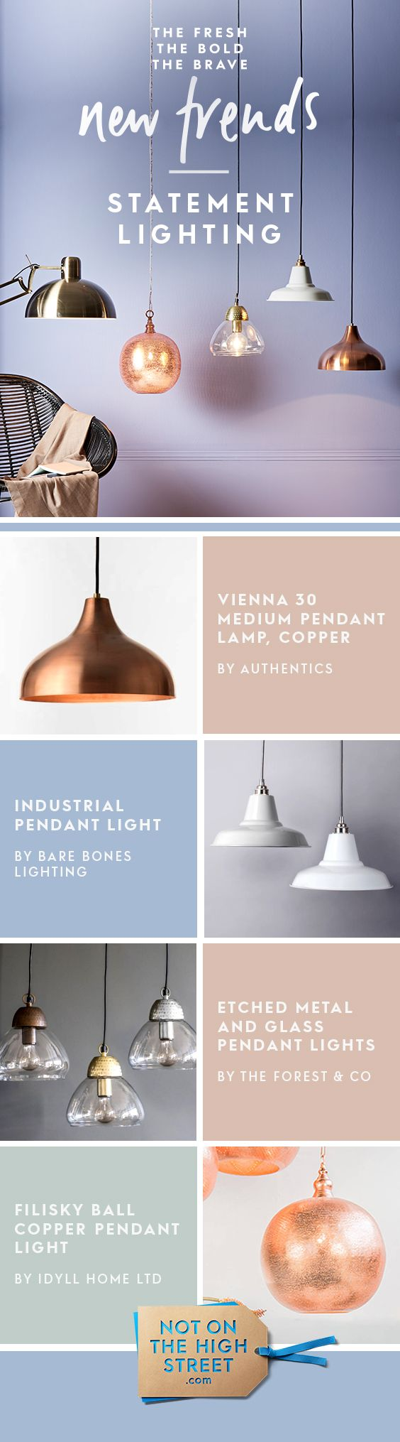 Decorative lighting is an artform in itself, with designs that catch the eye whether the bulb is one or off. Consider mixing different styles with complementary tones or mixed metals.